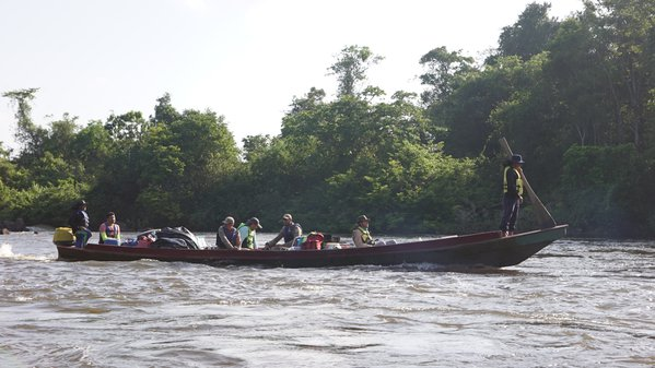 Wood boat and river rapids thumbnail