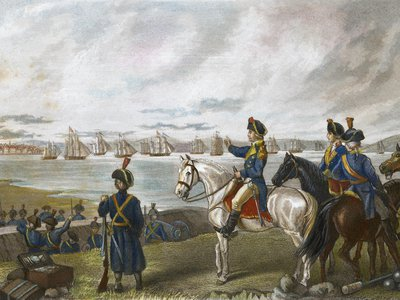 General George Washington observes the evacuation of Boston, Massachusetts, by the British forces under Sir General William Howe. Engraving by Frederick T. Stuart, c1867.