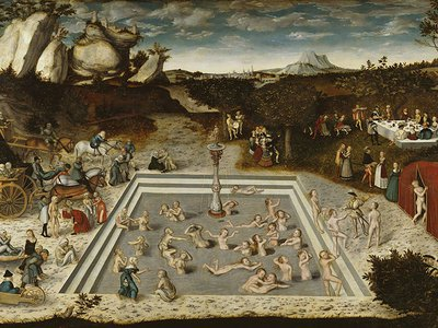 The aged bathe in the restorative waters of the mythical fountain of youth in this 1546 oil painting by German Renaissance artist Lucas Cranach the Elder. Scientists have turned to studies of blood to identify a path to rejuvenating tissues damaged by the aging process.