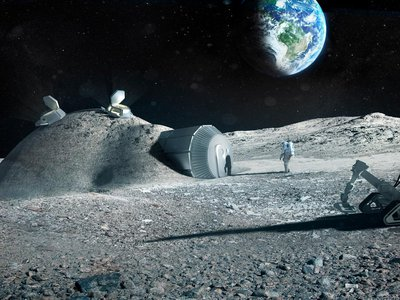An artist's rendering of what a moon base might look like