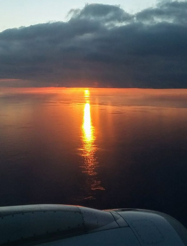 View of the Sunset from the Seat of a Plane Over the Pacific Ocean thumbnail