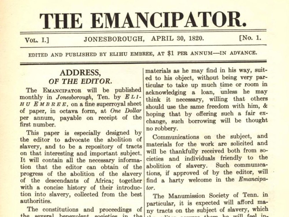 A screenshot of the first page of a nineteenth century pamphlet, with large font that reads THE EMANCIPATOR on top and an Address of the Editor, followed by two columns of text
