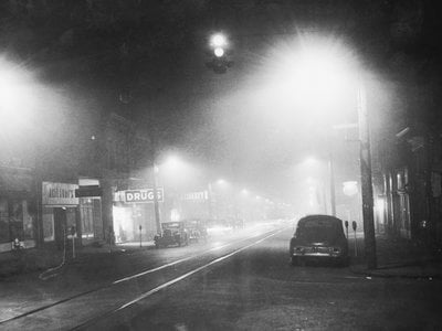 The Donora Smog of 1948 began on October 27 and lasted until October 31, when rain cleared the combined smoke, fog and pollution that had become trapped over the town.