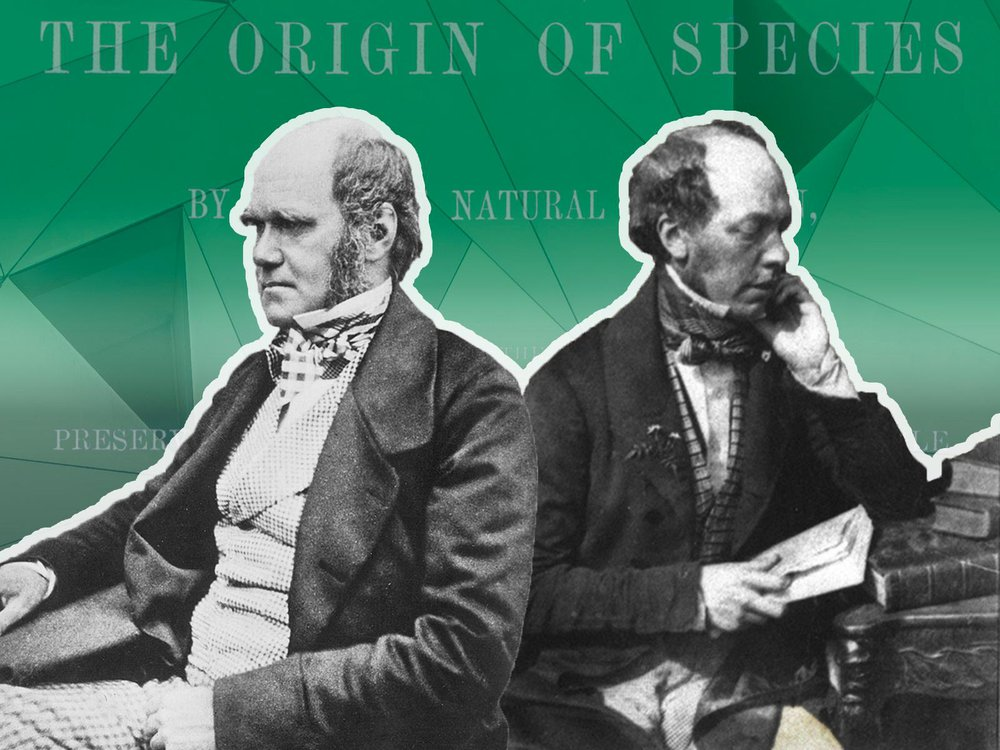 Darwin and John Murray, facing opposite directions, with The Origin of Species title in background