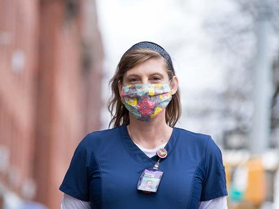 """Catherine """"Cat"""" Carnes, a registered nurse from Oklahoma, came to Brooklyn to volunteer after seeing """"the news day after day and watching the nurses literally cry out for help in New York City."""""""