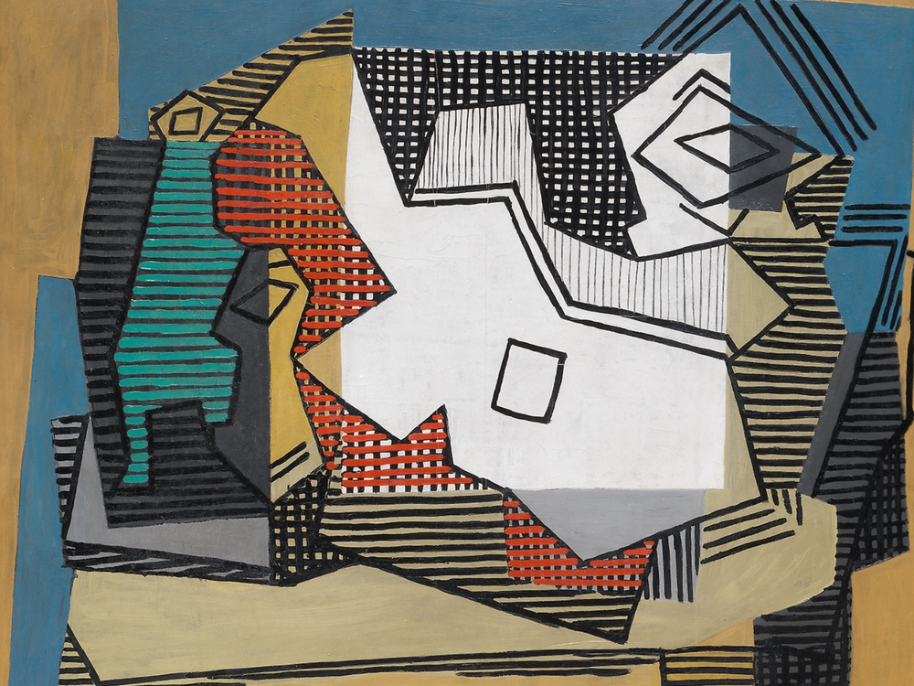 Picasso's 'Still Life' features the white outlines of a guitar in the center, with abstract, linear representations of a wine bottle and a small bowl on either side, all pictured from a bird's eye view
