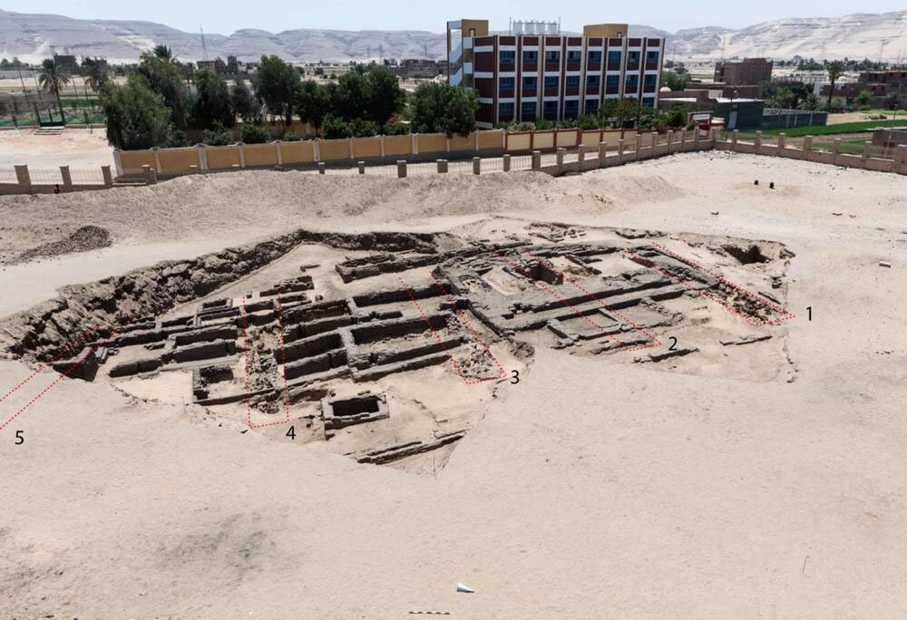 Aerial view of ancient Egyptian brewery