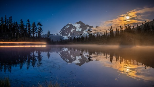 Midnight Moon over Mount Shuksan. thumbnail