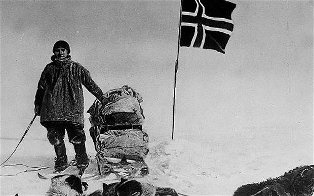 Amundsen at the South Pole, one hundred years ago today.