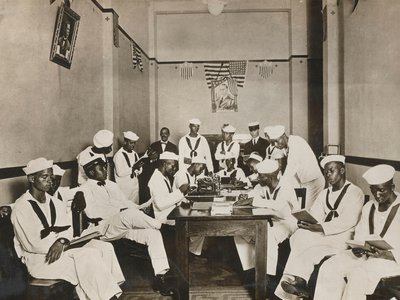 Sailors reading, writing and relaxing at the Red Cross Rest Room in New Orleans. Around 400,000 African Americans served in World War I.
