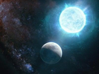A newly discovered white dwarf star (right) is only slightly larger than the moon (left).