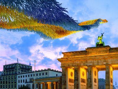 Art installation above the Brandenburg Gate