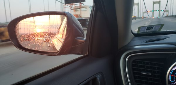 Sunset in Rear View on the Delaware Memorial Bridge thumbnail