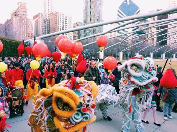 Lantern Festival lion dance procession through Millennium Park, Chicago thumbnail