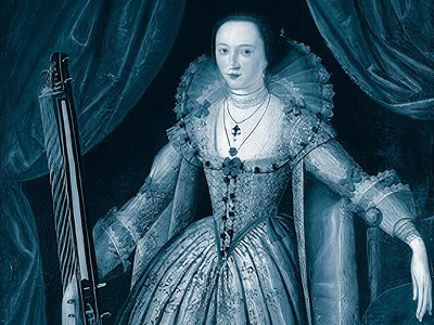 The bold, brilliant Mary Wroth with a string instrument called a theorbo, circa 1620.