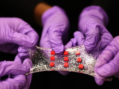 The hydrogel bends and flexes like human skin.