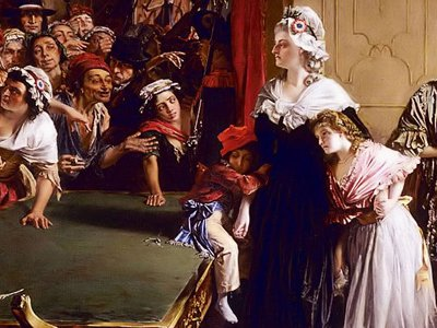 Marie-Antoinette, her children, and Madame de Tourzel face the mob at the Tuleries on June 20th, 1792.