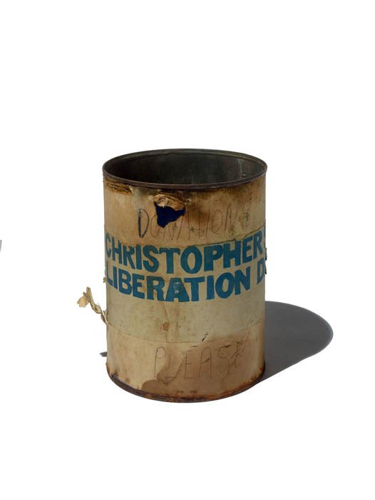 """Aluminum can painted with """"Christopher Liberation"""""""