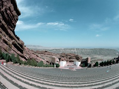 Amphitheater and mountainous landscape in Red Rock Park, Colorado.