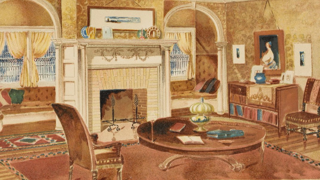 Book illustration of living room with fireplace.