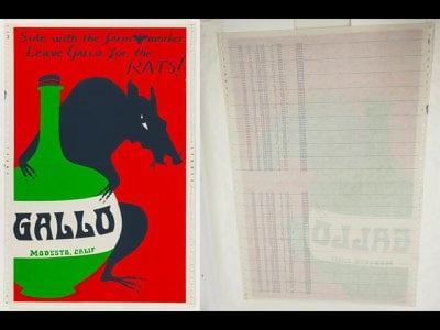 Unidentified, Untitled (Side with the Farmworkers), front and reverse views, c. 1973, screenprint on computer tractor paper, Smithsonian American Art Museum, Gift of the Margaret Terrazas Santos Collection, 2019.52.4