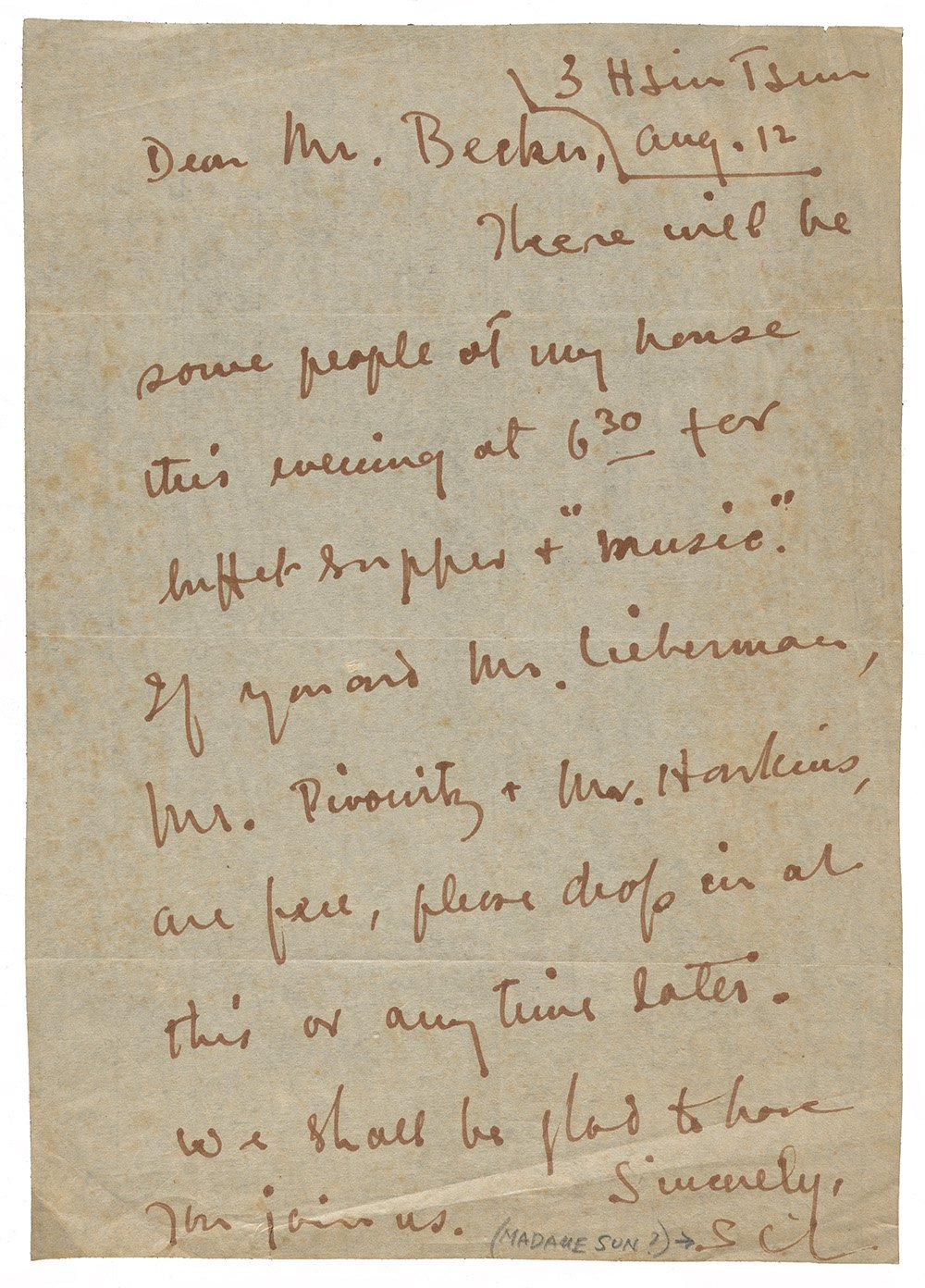 Letter to Fred Becker from Madam Sun Yat-sen