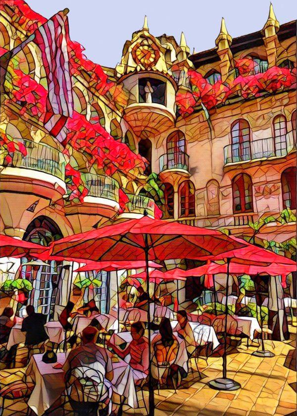 Dining at courtyard at Mission Inn Riverside California thumbnail