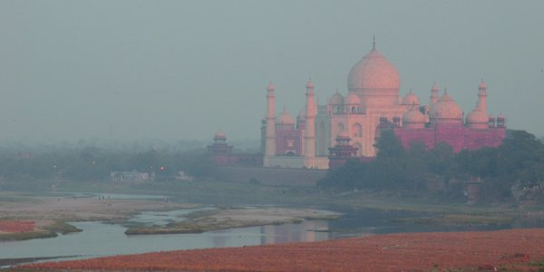 A view of the Taj from behind on a foggy morning thumbnail