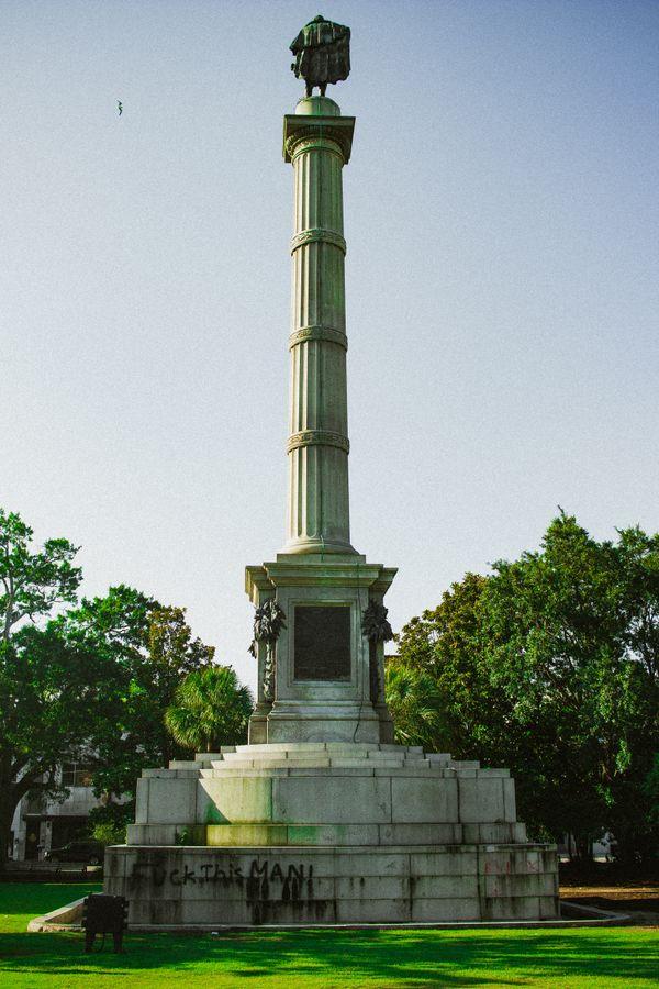 Calhoun statue the morning after Charleston riot thumbnail