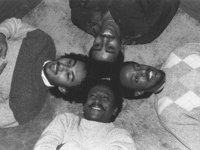 Admas. From left, clockwise: Abegasu Shiota, Henock Temesgen, Tewodros Aklilu, and Yousef Tesfaye. (Photo courtesy of Frederiksberg Records)