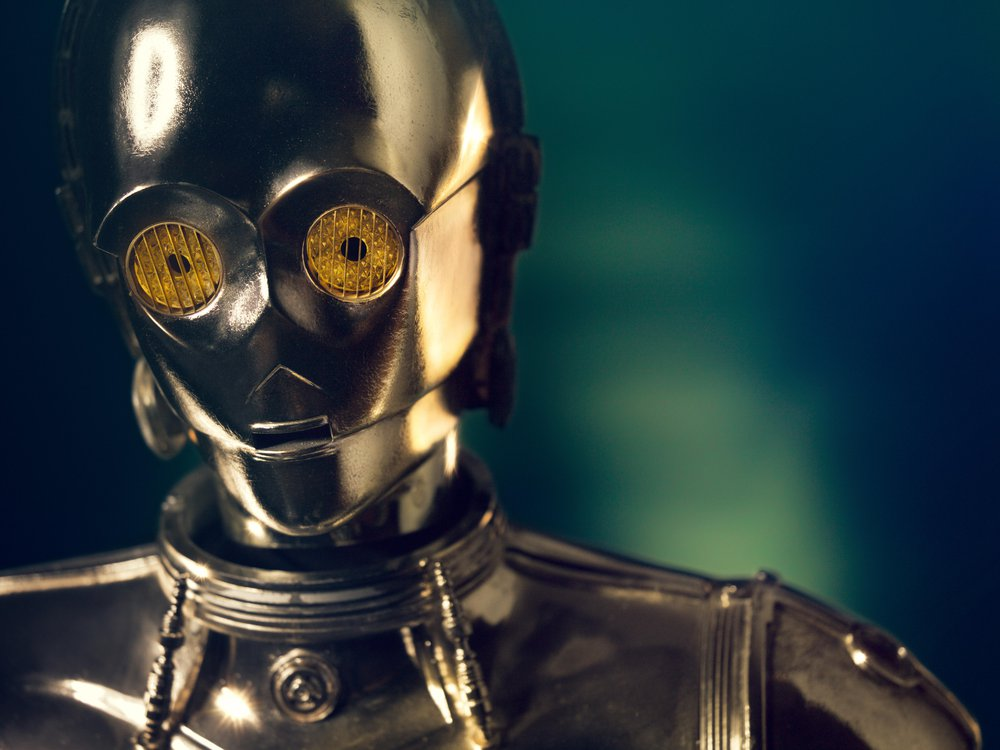 Gold plating sheathes most of C-3PO's costume. Later films included variations such as a red arm.
