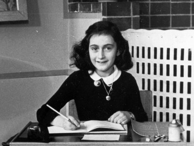 Anne Frank pictured at school in Amsterdam in 1940
