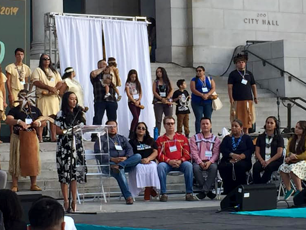 California Natives gather in front of City Hall to celebrate Los Angeles's second annual Indigenous Peoples Day. October 14, 2019, Los Angeles, California. (Photo courtesy of Helena Tsosie)