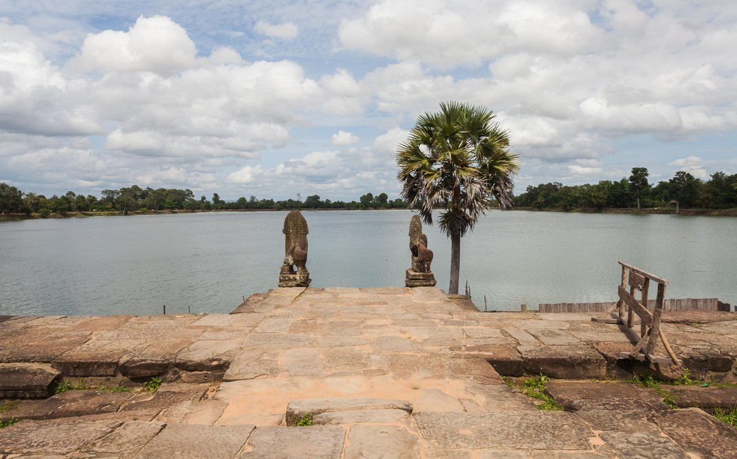 Archaeologists Discover Ancient Stone Turtle in Drained Angkor Reservoir