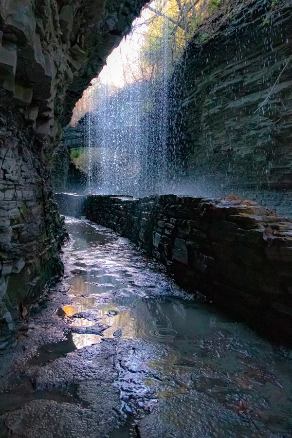 Walking under waterfall.  thumbnail