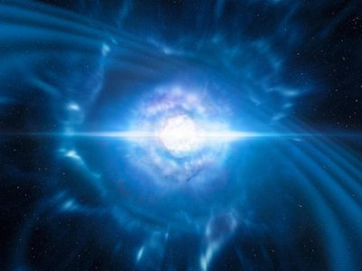 An artist's impression shows two tiny but very dense neutron stars at the point at which they merge and explode as a kilonova.