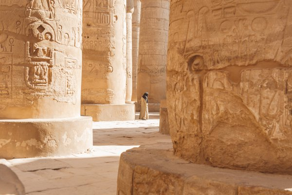 A man named Mohamed walking through the Karnak Temple in Luxor, Egypt thumbnail