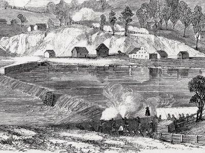 "Confederate Gen. Thomas ""Stonewall"" Jackson's men drew Union fire in an attempt to destroy a Potomac River dam."