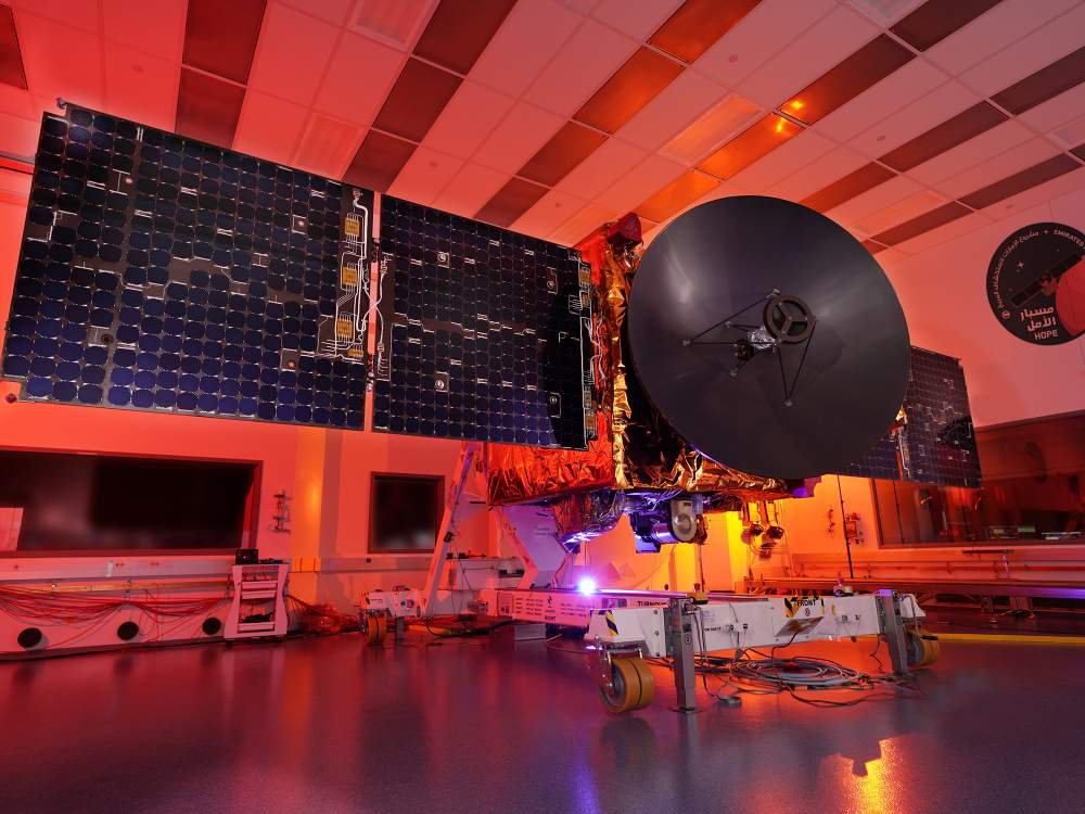 The Hope spacecraft of the United Arab Emirates' Emirates Mars Mission during testing.