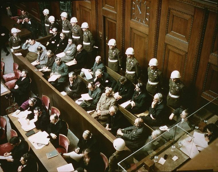 Defendants in the dock at the Nuremberg trials