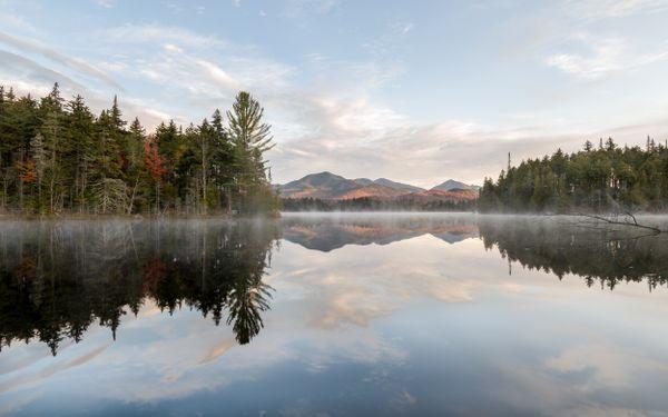 Misty sunrise over Boreas ponds in Adirondack state park NY thumbnail