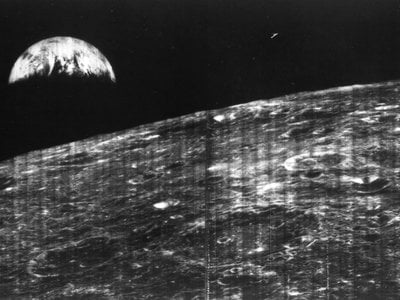 The first photo of Earth from the moon was taken on August 23, 1966.