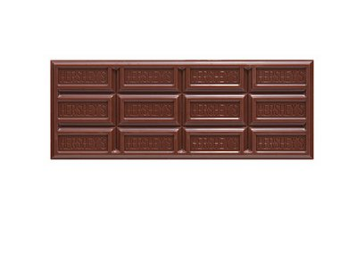 The unmistakeable surface of the classic Hershey bar