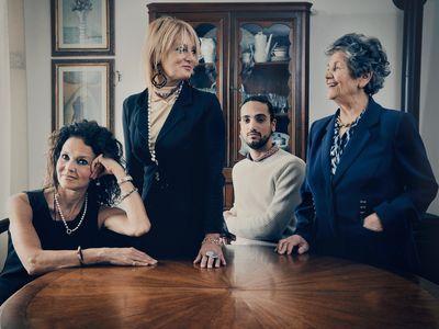 Three generations of the Marsili family at home in Siena, Italy. From left: Maria Elena; Letizia and her son Ludovico; matriarch Maria Domenica.
