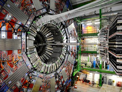 This image was taken inside the Large Hadron Collider just a few months before its launch in 2008.