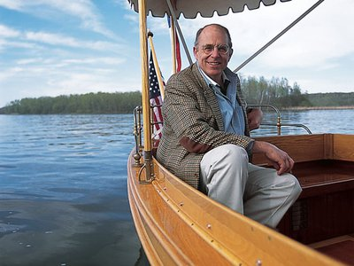 """""""Electric boats intensify my connection to the water,"""" says Houghton (at tiller)."""