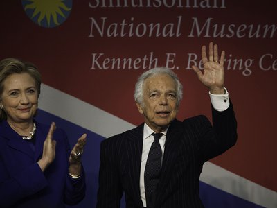Ralph Lauren received the James Smithson Bicentennial Medal at the American History Museum, where Hillary Rodham Clinton honored his role in preserving the Star-Spangled Banner