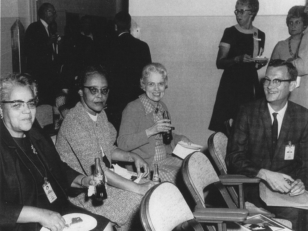 This photo, donated by B. Golemba to the Langley Research Center, shows a few of the institution's human computers. Human computers were often women who helped to crunch data before the wide-spread use of electronic computers. Left to Right: Dorothy Vaughan, Lessie Hunter, Vivian Adair (Margaret Ridenhour and Charlotte Craidon in back). Credit: NASA