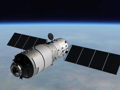 An artist's illustration of the Tiangong-1 space lab in orbit.