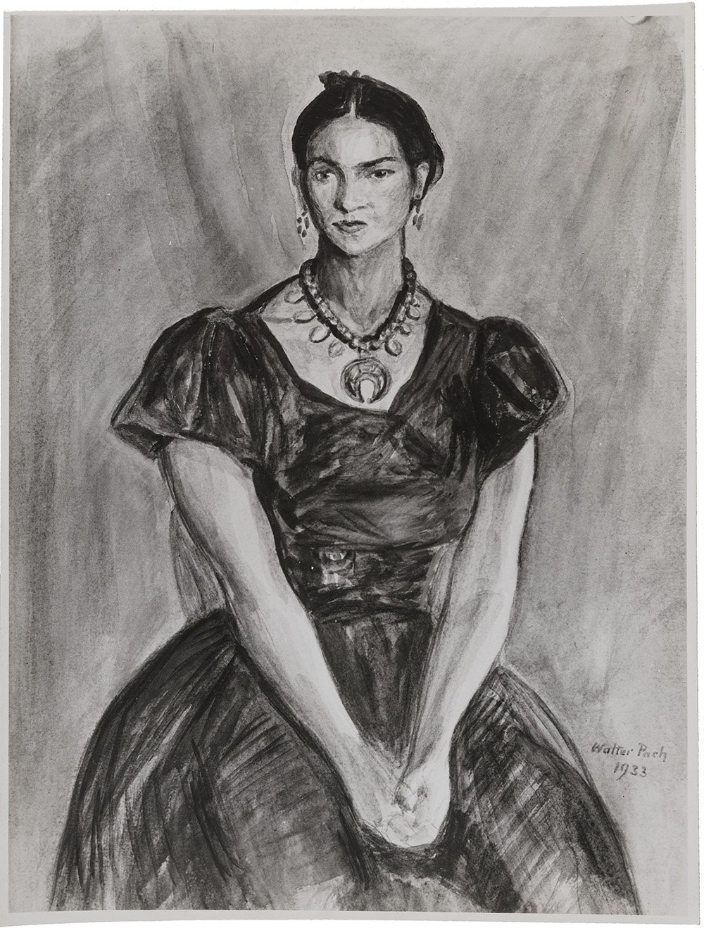 Black and white photograph of an early portrait of Frida Kahlo by Walter Pach